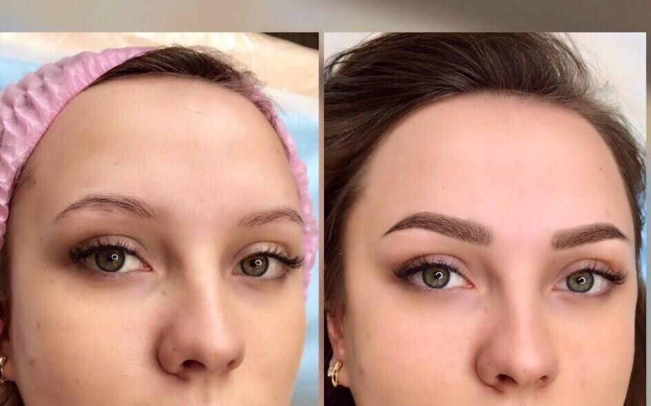 Пудровые брови через год после процедуры