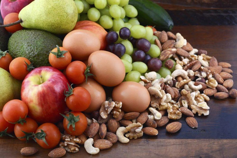 овощи, фрукты, яйца и орехи