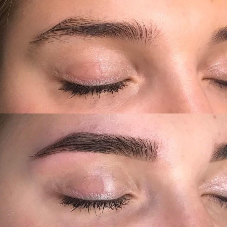 окрашивание бровей до и после