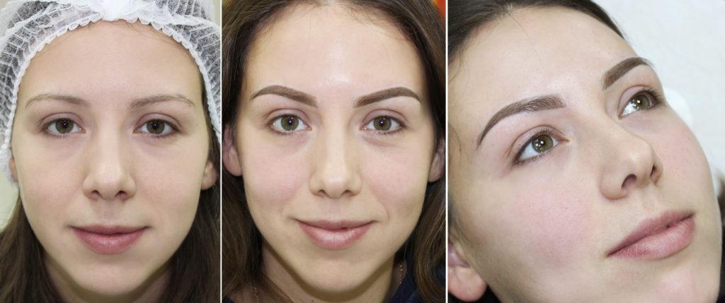 Полуперманентный макияж бровей