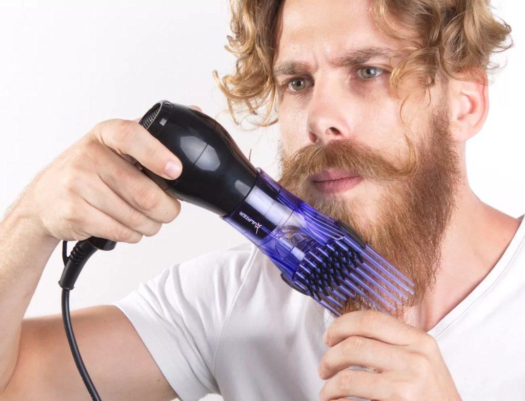 Выпрямление бороды с помощью фена