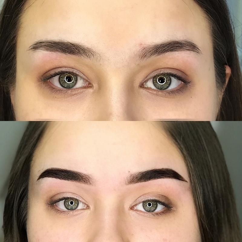окрашивание бровей фото до и после