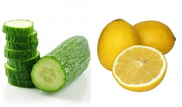 свежий лимон, огурец.