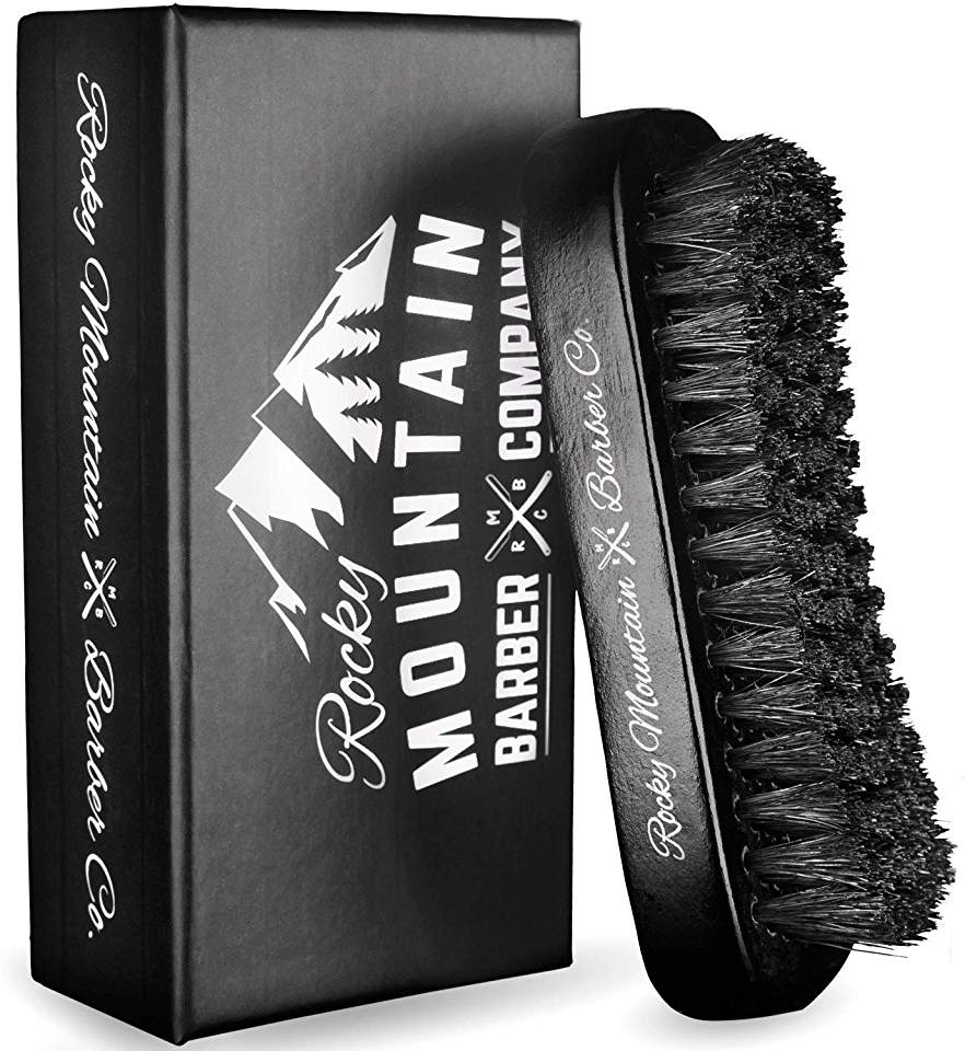 Rocky mountain barber pure black boar hair natural bristle military brush