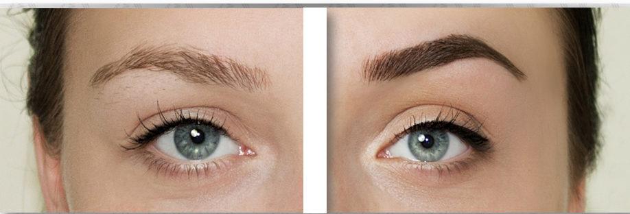 накладные бровки до и после