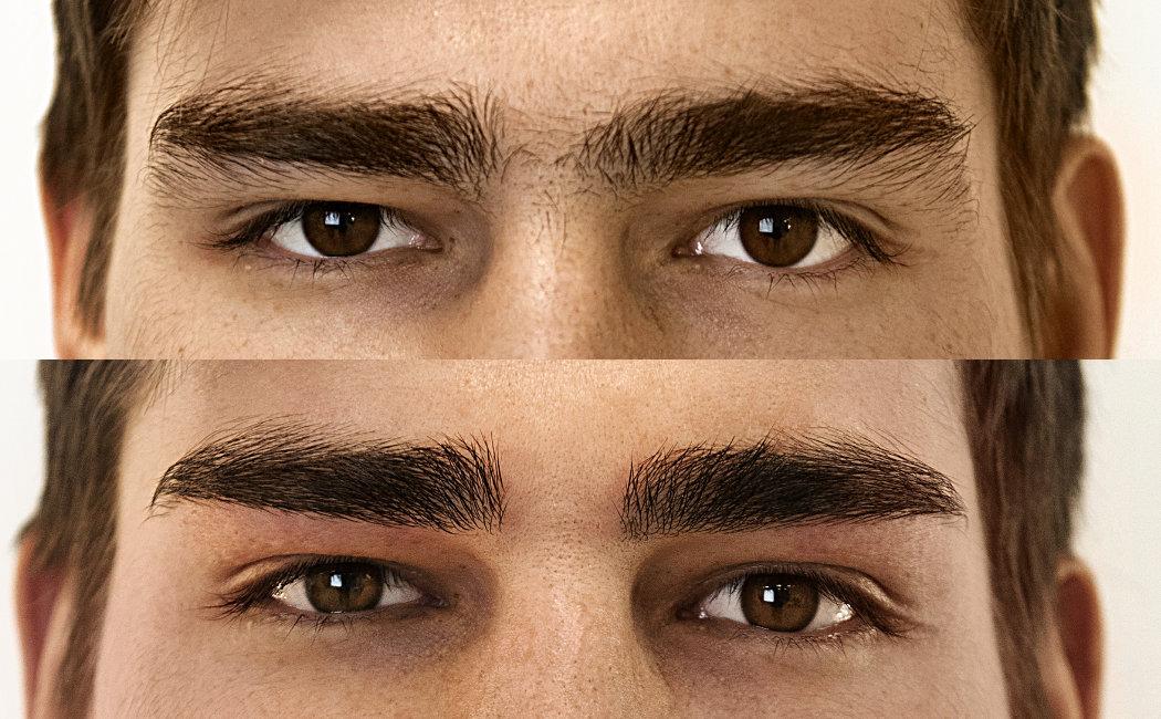 брови до и после эпиляции