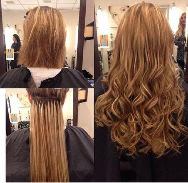 как выглядят нарощеные волосы